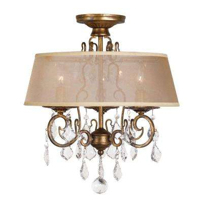 15 in. 3-Light Antique Gold Flushmount Chandelier