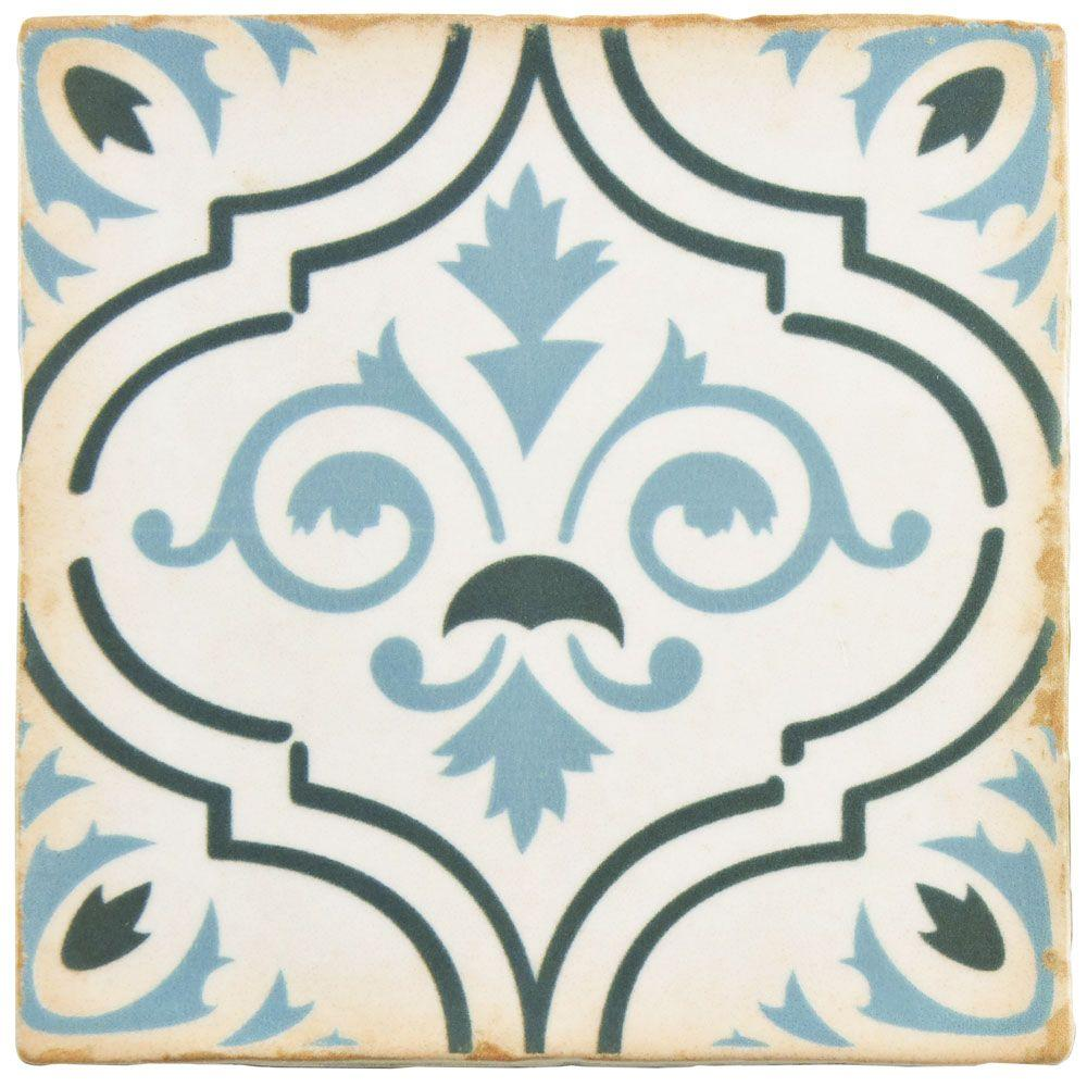 Merola Tile Archivo Fleur De Lis 4 7 8 In X Ceramic Floor And Wall 5 9 Sq Ft Case Fpearcfd The Home Depot