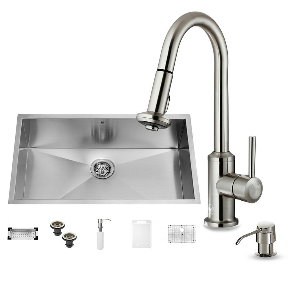VIGO All-in-One Undermount Stainless Steel 32 in. 0-Hole Single Bowl Kitchen Sink in Stainless Steel with Faucet Set