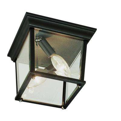 Ansel Black Copper 2-Light Outdoor Flush Mount Lantern