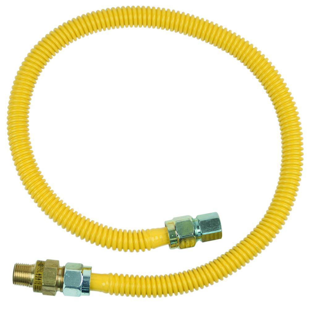 Brasscraft Safety+PLUS 1/2 inch MIP Excess Flow Valve x 1/2 inch FIP x 36 inch Stainless Steel Gas Connector 5/8 inch... by BrassCraft