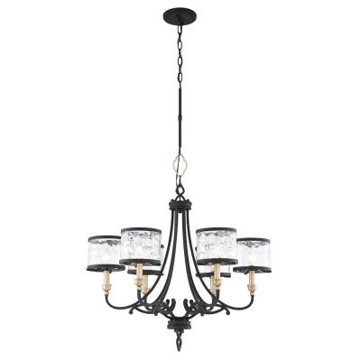 Wyndmere 6-Light Sand Black with Gold Highlights Chandelier with Clear Water Glass Shades