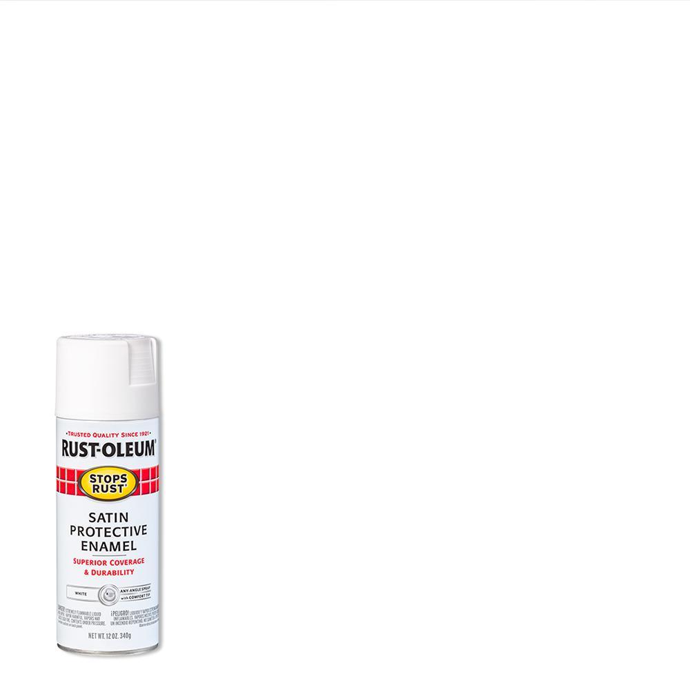 Rust-Oleum Stops Rust 12 oz. Protective Enamel Satin White Spray Paint