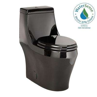 1-piece 1.28 GPF Single Flush Elongated Toilet in Black