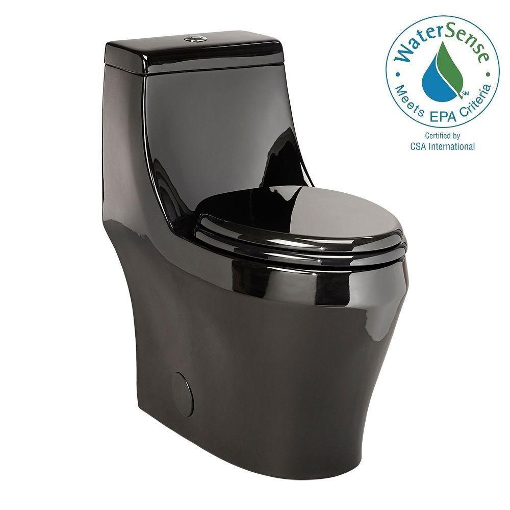 1-piece 1.28 GPF Single Flush Elongated Toilet in Black