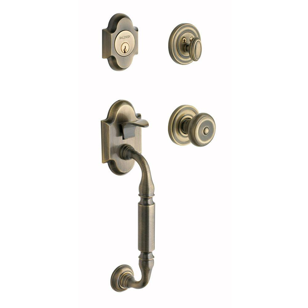 Baldwin Canterbury Single Cylinder Satin Brass and Black Handleset with Colonial Knob