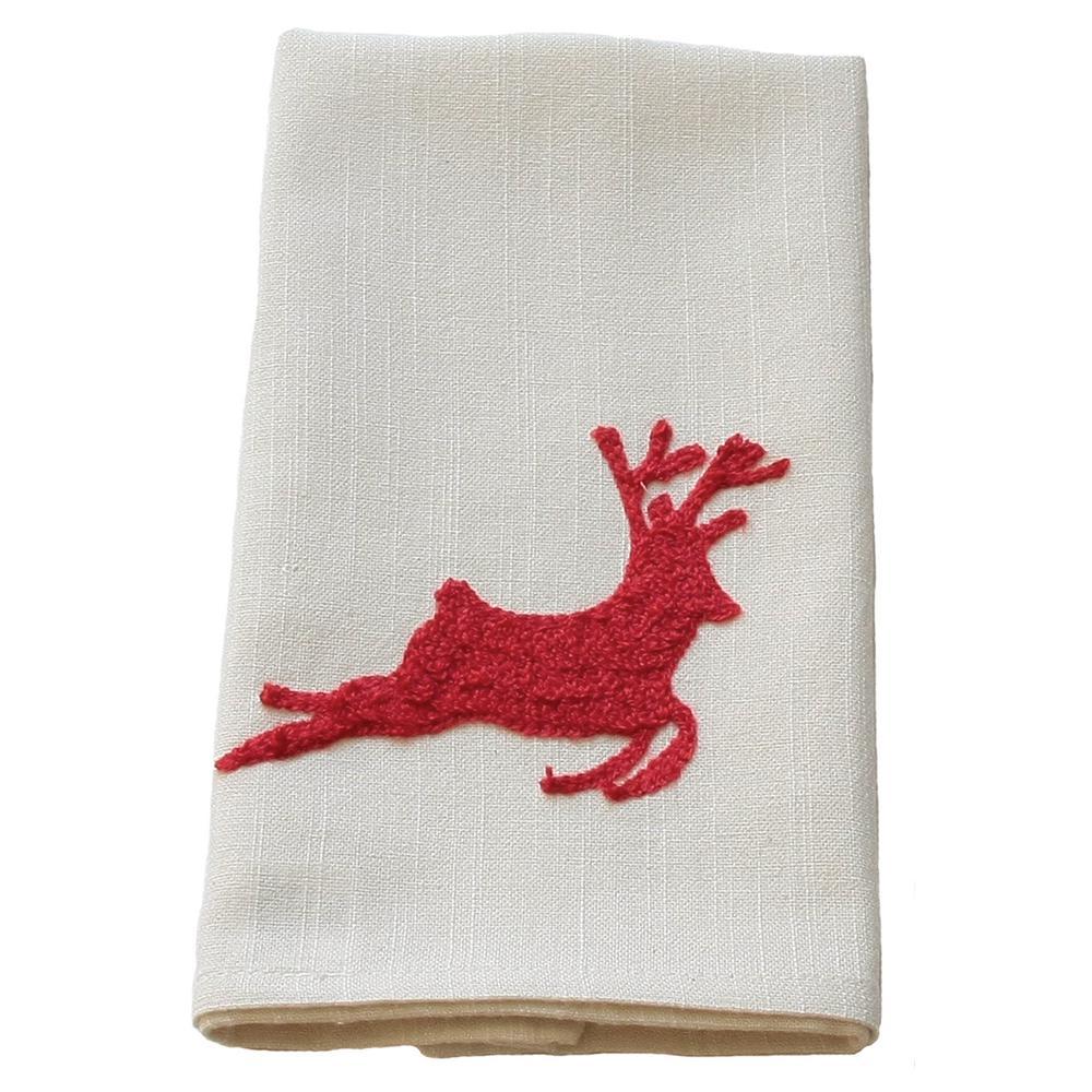 14 in. x 22 in. Reindeer Crewel Embroidery Holiday Tea Towel