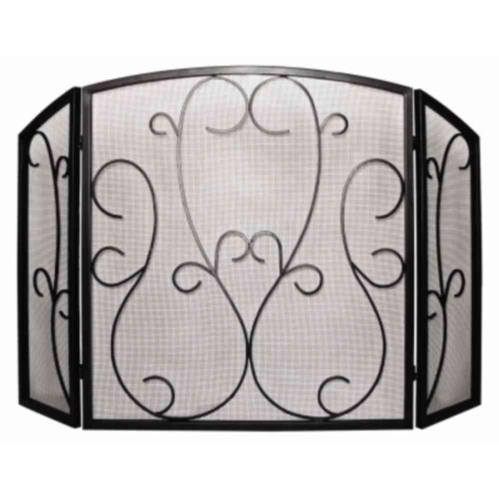 Pleasant Hearth Elizabeth Scroll Aged Black 3-Panel Fireplace Screen-DISCONTINUED
