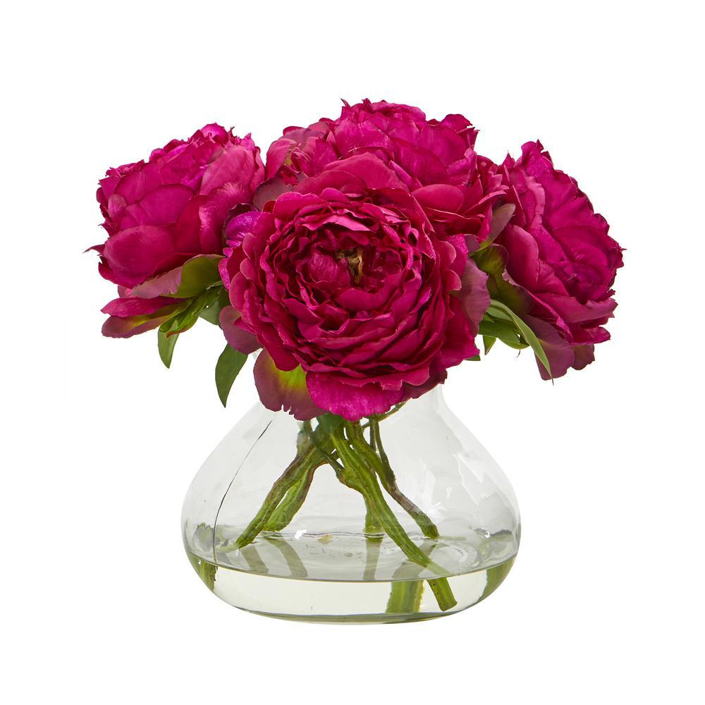 10 in. Peony Artificial Arrangement in Glass Vase
