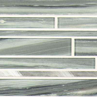 12 in. x 11.81in. x 4mm Sea Glass Interlocking Textured Glass Mesh-Mounted Mosaic Tile (0.98 sq. ft.)