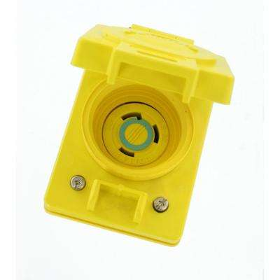 30 Amp 250-Volt Wetguard Flush Mounting Locking Grounding Outlet with Cover, Yellow