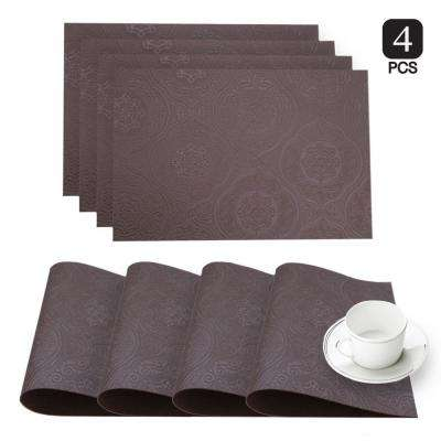 Hyde Park Burgundy Faux Leather Placemat (Set of 4)