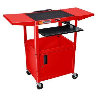 Adjustable Height 24 in. in. Steel A/V Cart with pullout shelf, drop leaf and cabinet in red