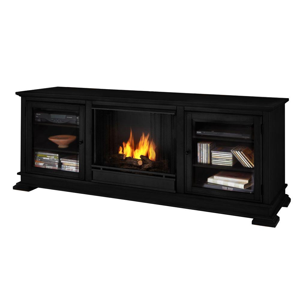 Real Flame Hudson 68 in. Media Console Gel Fuel Fireplace in Black