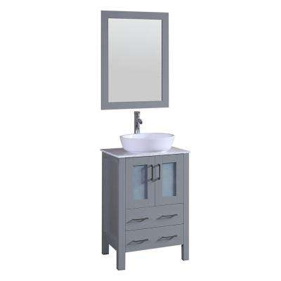 24 in. W Single Bath Vanity with Carrara Marble Vanity Top in Gray with White Basin and Mirror