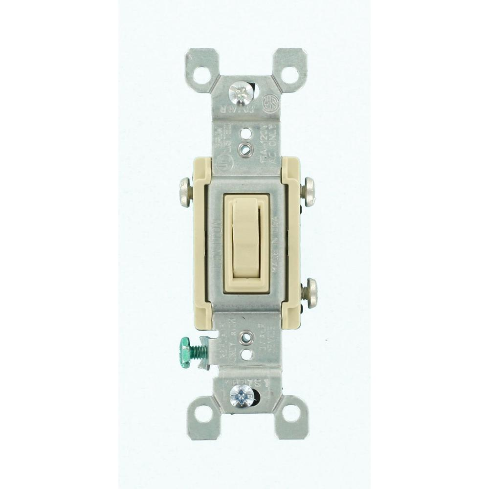 Leviton 15 Amp 3-Way CO/ALR AC Quiet Toggle Switch, Ivory-R61-02653 ...