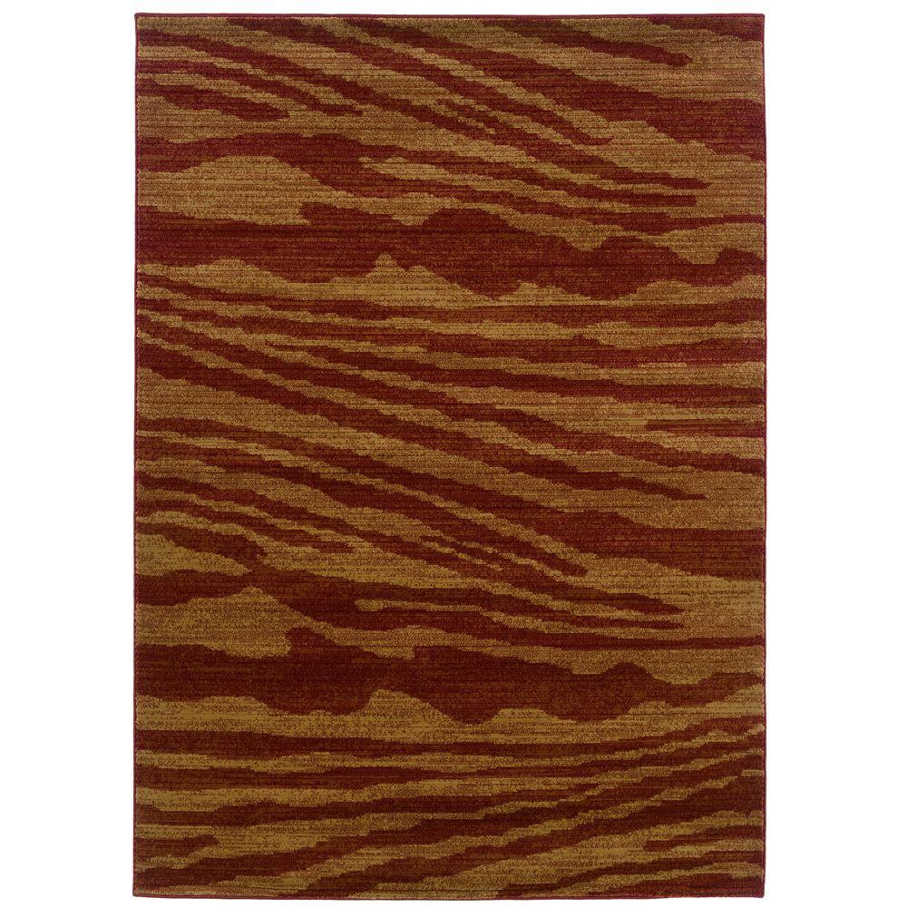 LR Resources Contemporary Cherry and Dark Yellow 9 ft. 2 in. x 12 ft. 5 in. Plush Indoor Area Rug