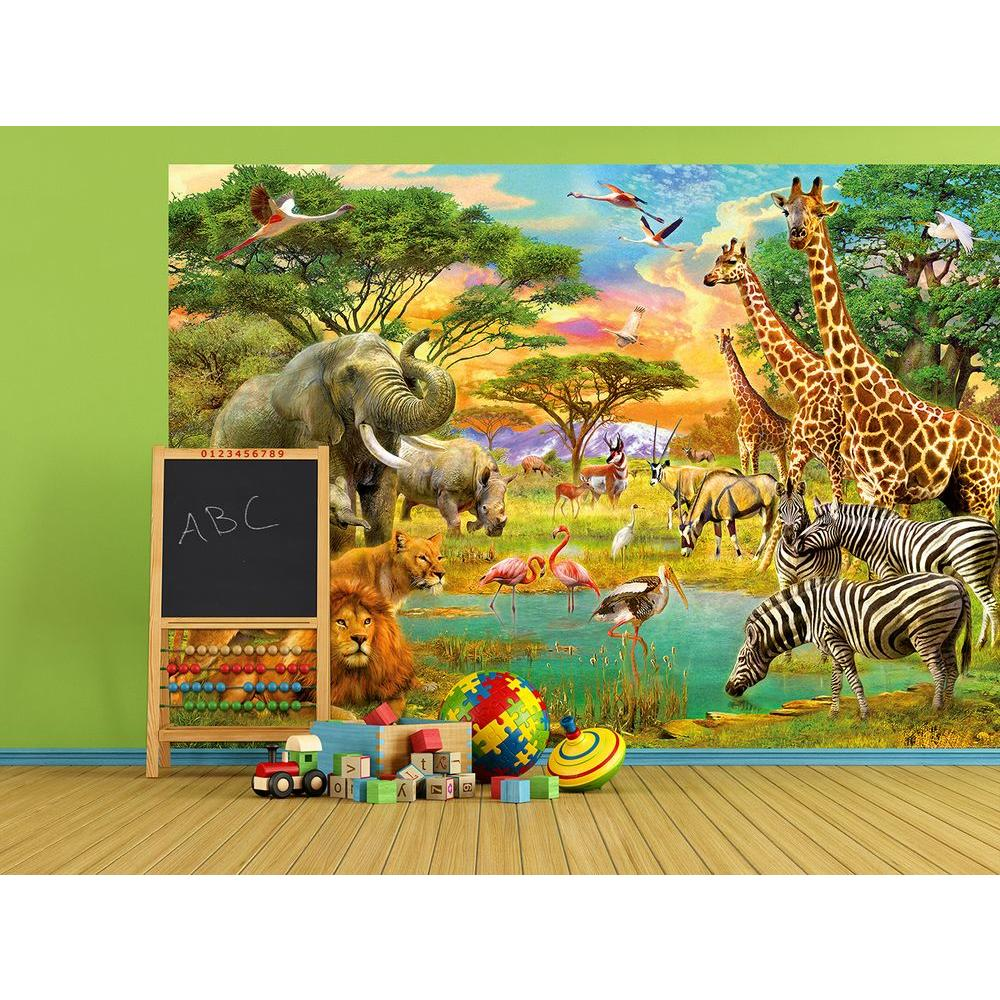 100 in. H x 144 in. W On Safari Wall Mural