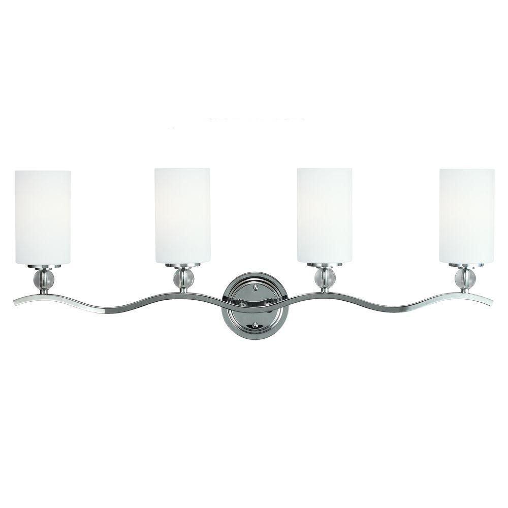 Englehorn 4-Light Chrome Wall/Bath Bar Light with Inside White Painted Etched