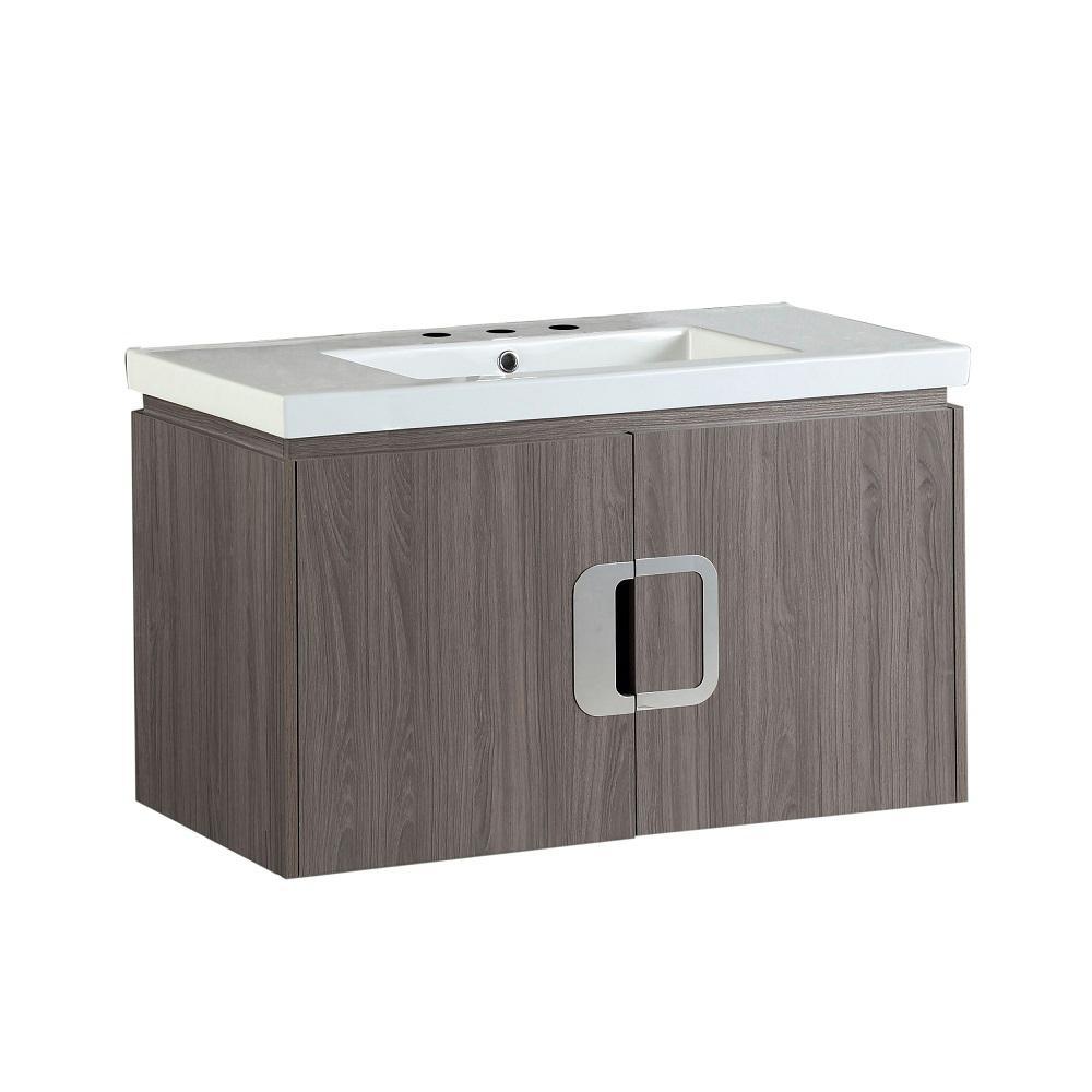 Torrey 36 in. W x 19 in. D x 22 in. H Single Vanity in Gray Brown Oak with Ceramic Vanity Top in White with White Basin