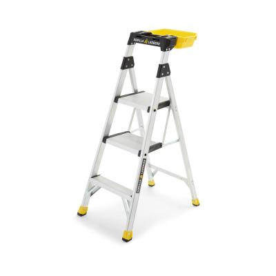 4.5 ft. Aluminum Dual Platform Heavy-Duty Hybrid Ladder 9 ft. Reach 300 lbs. Capacity with Project Bucket