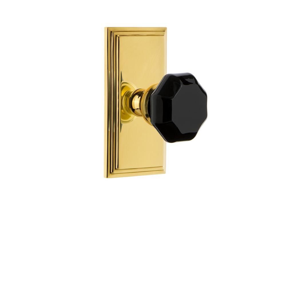 Carre' Rosette 2-3/8 in. Backset Polished Brass Passage Hall/Closet Lyon Door Knob