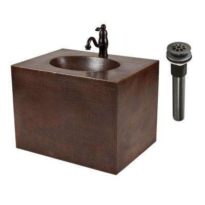 24 in. Wall Mount Copper Vanity with Built-In Bathroom Sink and Faucet in Oil Rubbed Bronze