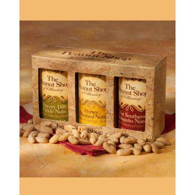 Savory Snack Size Gift Box with Jalapeno, Dill Pickle and Honey Mustard Seasoned Peanuts (3-Pack)