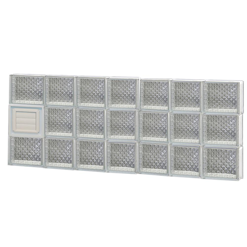 Clearly Secure 44.25 in. x 17.25 in. x 3.125 in. Frameless Diamond Pattern Glass Block Window with Dryer Vent
