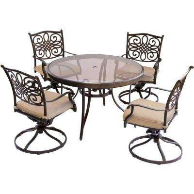 Traditions 5 Piece Aluminum Outdoor Dining Set With Round Glass Top Table  And Swivel