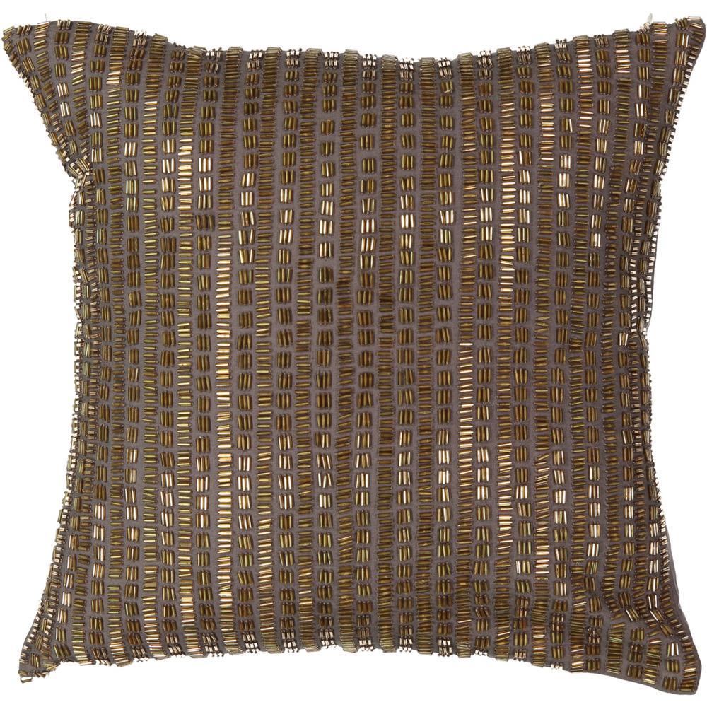 Sandrine Polyester Square Mink Beaded Standard Decorative Pillow