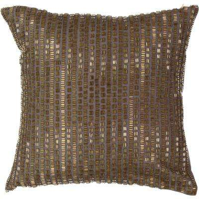 Sandrine Polyester Square Mink Beaded Standard Decorative Pillow