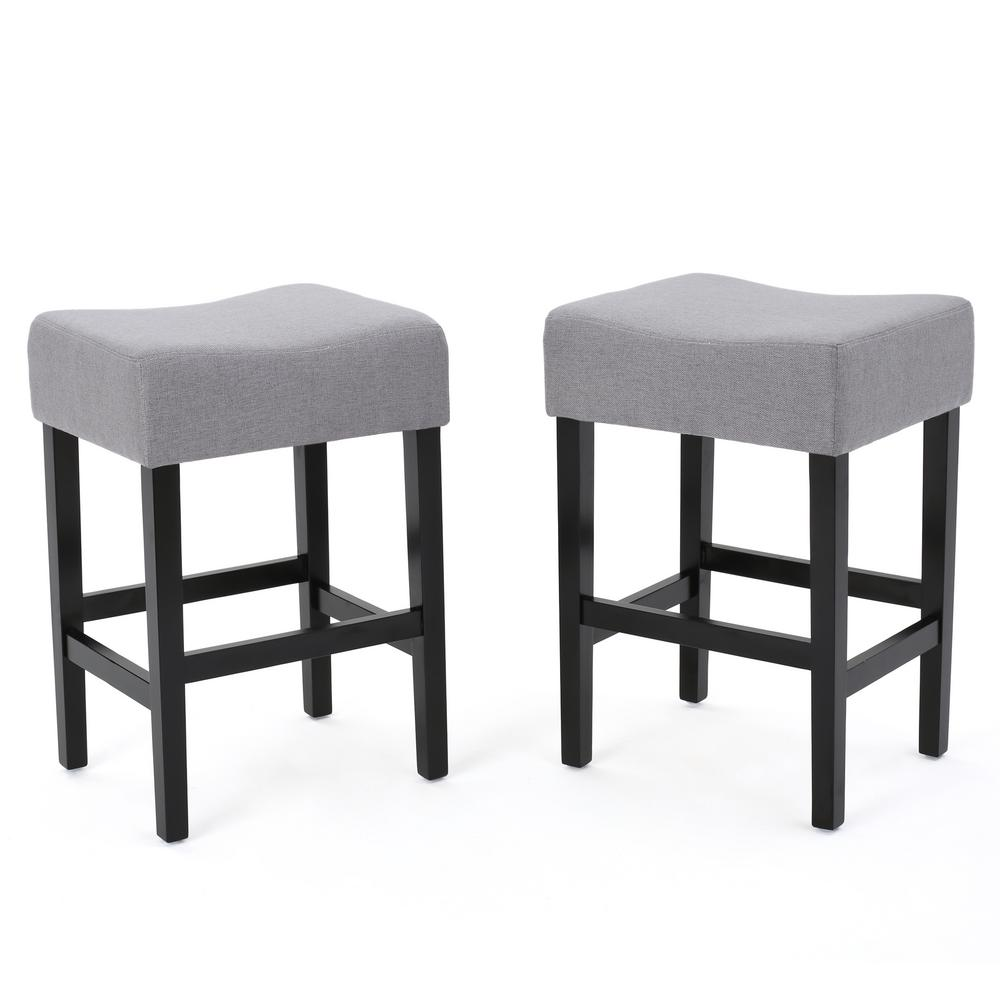 Noble House Lopez 26.75 in. Light Grey Fabric Backless Counter Stool (Set of 2), Light Gray/Dark Brown was $158.87 now $106.77 (33.0% off)