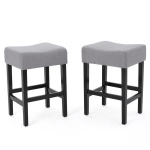 Noble House Lopez 26 In Light Grey Fabric Counter Stool