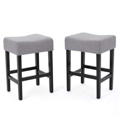 Lopez 26.75 in. Light Grey Fabric Backless Counter Stool (Set of 2)