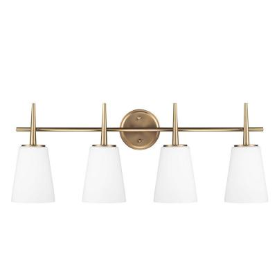 Driscoll 4-Light Satin Bronze Wall/Bath Vanity Light with Inside White Painted Etched Glass