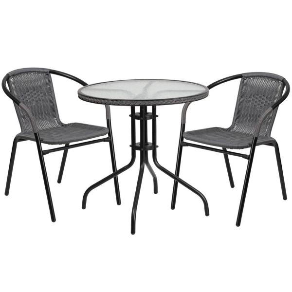3-Piece Glass Round Outdoor Bistro Set in Clear Top/Gray Rattan