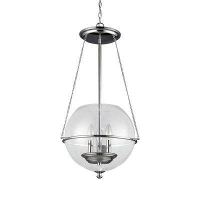 Havenwood 14.5 in. W x 26.75 in. H 3-Light Chrome Mid-Century Modern Small Globe Indoor Pendant