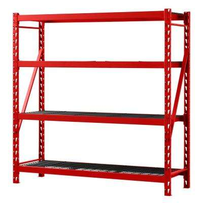 77 in. W x 78 in. H x 24 in. D 4-Shelf Welded Steel Garage Storage Shelving Unit with Wire Deck in Red