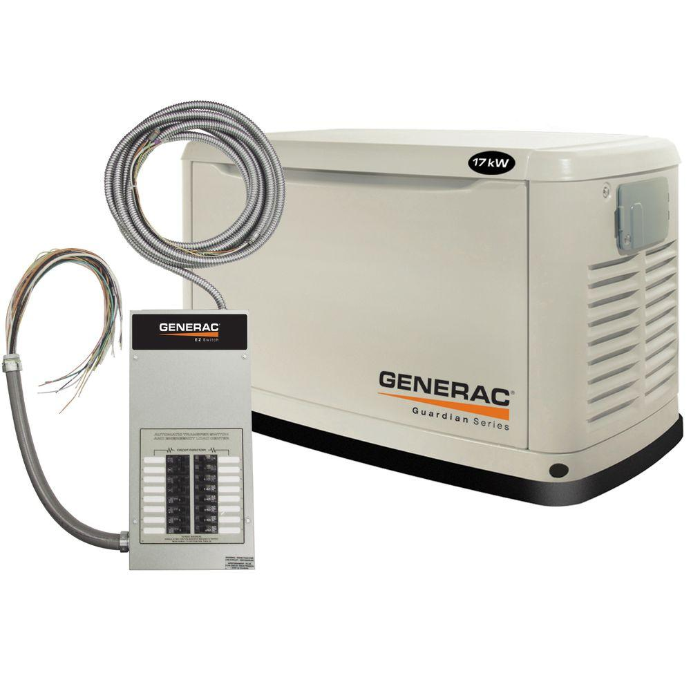 Generac 17,000-Watt Automatic Standby Generator with 100-Amp 16 Circuit Transfer Switch-DISCONTINUED