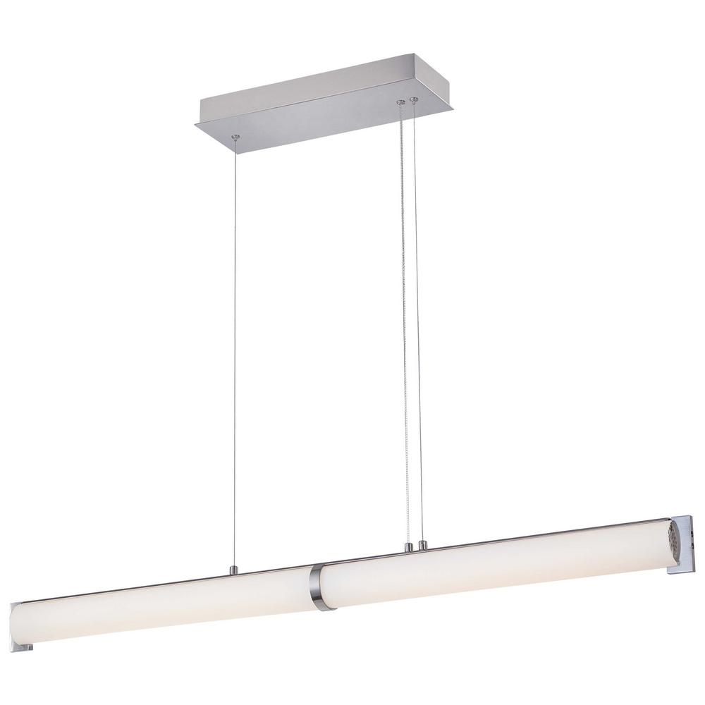 Tube 150-Watt Brushed Nickel Integrated LED Pendant Light with Etched White