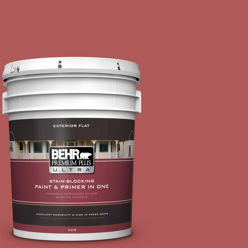 BEHR Premium Plus Ultra 5-gal. #160D-6 Pottery Red Flat Exterior Paint