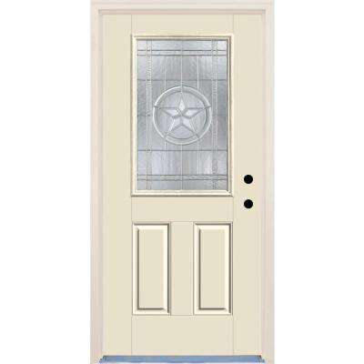 36 in. x 80 in. Texas Star Decorative Glass Unfinished Fiberglass Prehung Front Door with Brickmould