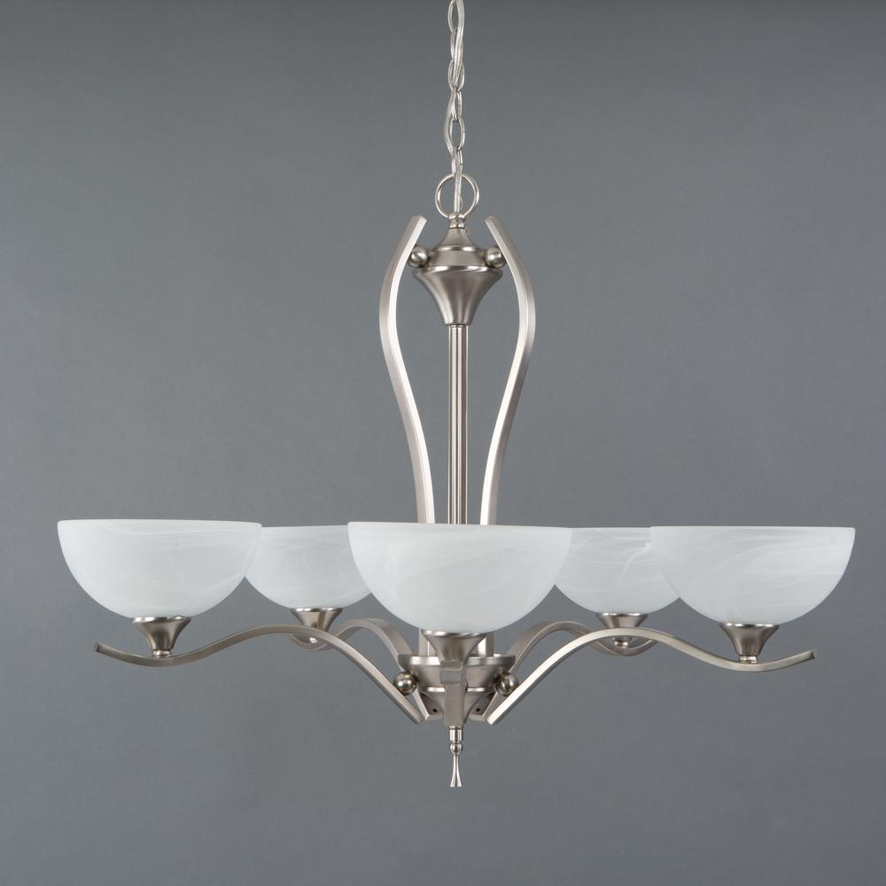 Yosemite Home Decor Glacier Point Collection 5 Light Satin Nickel Hanging Chandelier With Ivory