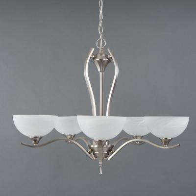 Glacier Point Collection 5-Light Satin Nickel Hanging Chandelier with Ivory Cloud Glass Shade