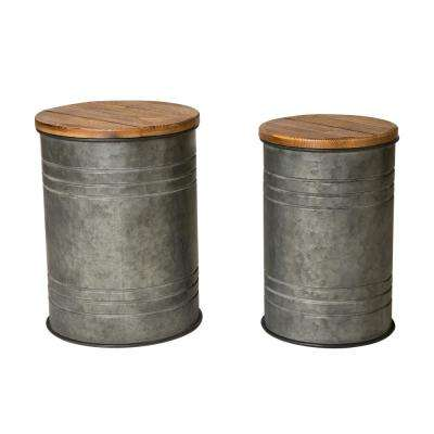 Galvanized Metal Storage Stool with Solid Wood Seat (Set of 2)