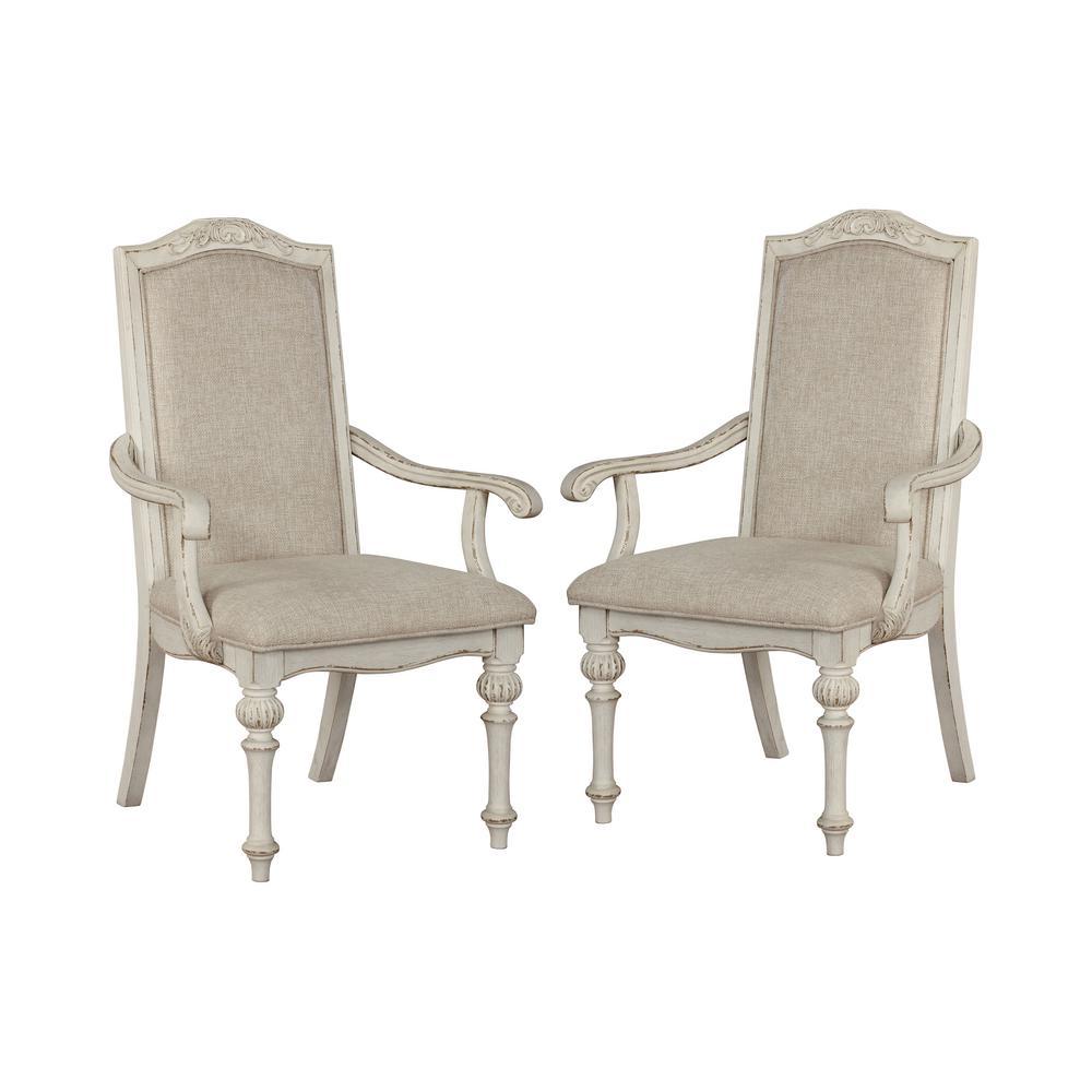 Willadeene Antique White Armchairs (Set of 2)