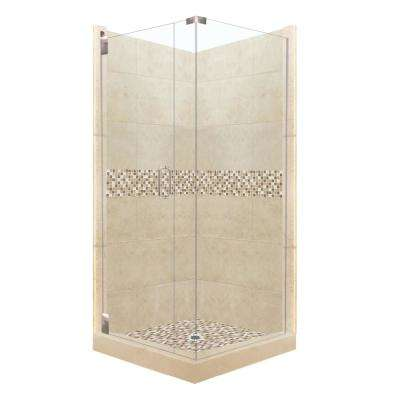 Roma Grand Hinged 38 in. x 38 in. x 80 in. Left-Hand Corner Shower Kit in Brown Sugar and Satin Nickel Hardware