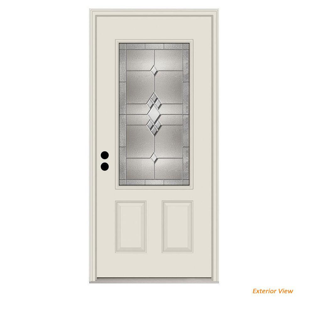 36 in. x 80 in. 3/4 Lite Kingston Primed Steel Prehung Right-Hand Inswing Front Door w/Brickmould