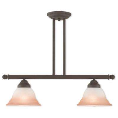 Wynnewood 2-Light Bronze Linear Chandelier with Hand Applied Sunrise Marble Glass Shade